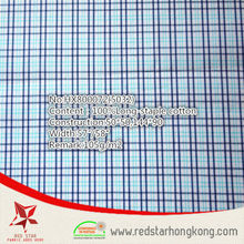 2015 new stype 100% cotton long stapled blue and cyan check fabric
