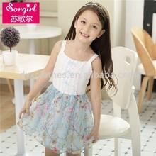 moda floweer de las muchachas del bebé vestido estampado de flores vestido de la muchacha con alta calidad