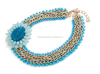 New products 2016 fashion turquoise necklace charm handmade accessories for women neck