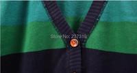женщины мода верхней одежды красочные полосы радуги v-образным вырезом крючком вязанные ss079726 кардиган женский tricotado