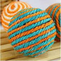 Lovely Pet Sisal Rope Weave Ball Play Chewing Catch Toy For Cat&Dog