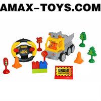 rbbc-59183715 rc building block truck Cartoon remote control building block dump truck for kids