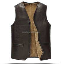 New style men real sheep fur winter waistcoat with double face sheepskin fur vest