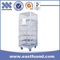 Heavy Load Wire Storage Cage Trolley With 4 Wheels,Steel Roll Container