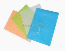 En forma de l de plástico transparente archivo de carpeta, bolsillo de plástico transparente carpetas