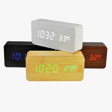 LED digital wooden table clock
