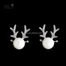 Dly pendiente navidad con cornamenta pendientes de perlas cuerno de ciervo pendientes