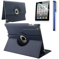 High quality 360 degree rotating pu leather case for iPad 2.3.4