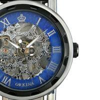 ESS Unisex Skeleton Dial Dark Blue Leather Strap Mechanical Luminous Watch WM341