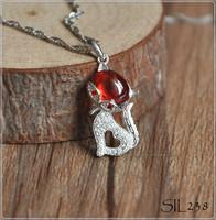 925 Sterling Silver Fox Pendant, Cute Animal Pendants, Silver Jewelry