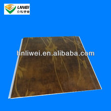 Laminated plastic ceiling panel with wicker design