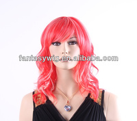 Hot Pink w platinum Two Tone color colorful Curly synthetic fiber For Halloween HolidayMade in China(GF-W1653#TF2316+613)