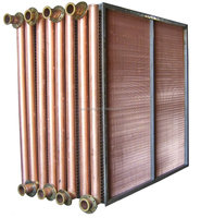 Copper tube and fin condenser heat exchanger for air conditioner