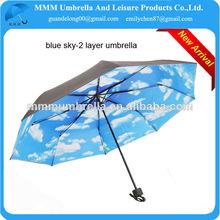 21 pulgadas azul cielo de impresión en el interior- doble capa paraguas veces