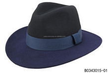 Double colors handmade felted wool hats men popular fedora with wide birm hats