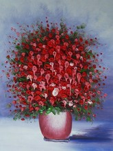 red knife flower painting canvas for bedroom modern art wall picture