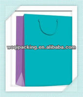 customized shopping paper bag/paper gift bags with PP handles&157g paper /Lsize26*32*12cm/blue color