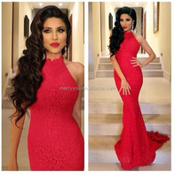 (MY1773) Lace Sexy Mermaid Prom Dress 2015 Red High-neck Sleeveless Evening Gowns