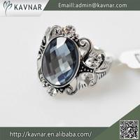 Wholesale Beautiful Elegant Grey Color Glass Stone Fashion Rings with Rhinestone R3765