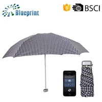 Check Fabric Flat Handle Cheap Wholeslae Gift Folding Umbrella With Cover