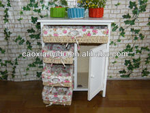 country style modern design tall white wooden cabinet with 4drawer and one door