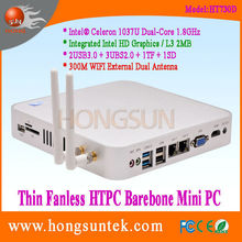HT730D Intel Celeron 1037U Quad Core 1.8Ghz CPU Fanless Barebone Mini PC, USB2.0, USB3.0, WiFi, VGA,SD,TF