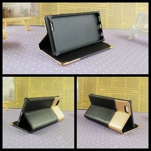Elegant black leather flip cover case for iphone 4 5 6 6plus stand function bag for iphone wholesale