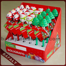 Promotion hot sell new style factory directly Santa Claus pop out pan,snowman pop out pen,Christmas pop out ball pen