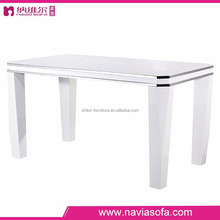 2015 hot sale MDF white dining room table furniture with stainless steel