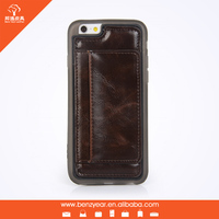 TPU case with PU leather card holder mobile phone case for iphone 6