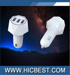 Most Powerful Car Charger Intelligent 4.8A 24W ABS 3 USB Car Charger With Smart Sharing IC
