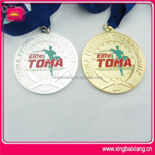 gold silver copper plated metal medal with ribbon drape