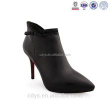 New female high tube minion slipper women stiletto hell pointed toe leather ankle boots shoes