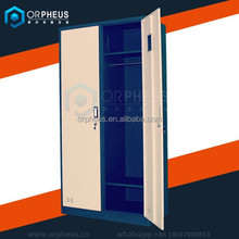 2015 New fanshion style used bedroom stainless steel double door wardrobe design with mirror in dubai
