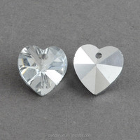 14mm Clear Electroplated Heart Shape Glass Pendants for Curtain(EGLA-R082-01)