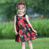 2015 Autumn Fashion Dress For Baby Girl Black Ruffle Sleeveless Rose Dresses Children Wear GD80810-66F