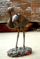 metal garden flamingo statue in bronze