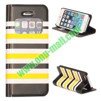 Beautiful Stripes Magnetic Flip Stand Leather Case With Caller ID Display Window for iPhone 5 / 5S