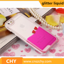 New Style Love Heart Flowing Liquid Glitter Plastic Clear Cell Phone Case For iphone 6
