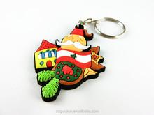 Hot Selling High quality Santa Claus Shaoe keyring custom rubber soft pvc keychain Christmas Gifts