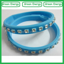 Diamond design good quality silicone rubber bands/glow in the dark silicone bracelet