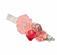 Peach Strawberry Ice Rosettes Flower Pearl Crystal Headband
