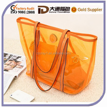 2015 Promotional Colorful Plastic PVC Handbag Lady Shoulder Transparent Tote Beach Bag