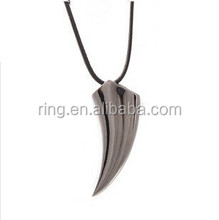 Gun Black Plated Unisex Metal Tooth Pendant Leather Chain Necklace Jewelry