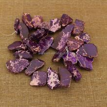 SM3066 Wholesale top drilled purple imperial jasper freeform nugget slab beads