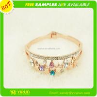Wholesale fashion jewelry rhinestone crystal hollow star 18k gold bracelet bangles