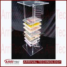 column standing tower shape clear acrylic plastic plexiglass storage DVD CD display rack