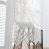 Shaoxing curtain manufacturer supply hotel room embroidery sheer lace linen curtain drapery
