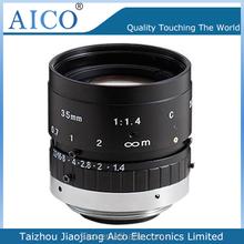 "manual type low distortion fixed focus 2/3"" F1.4 35mm c mount waterproof lens"