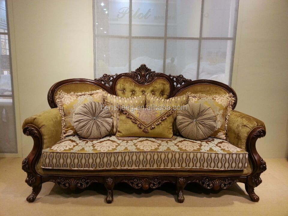 S1315 Foshan Sofa Furniture Wooden Carved Sofa Set Classic